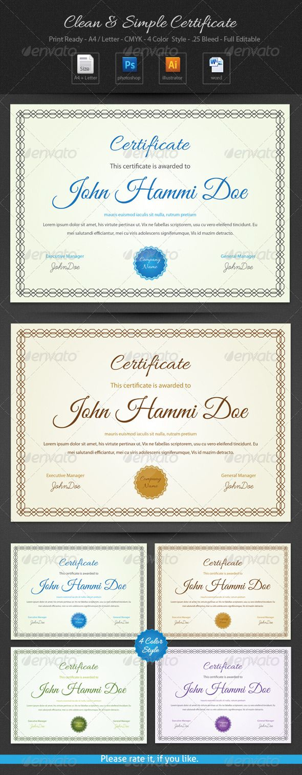 Best 25 certificate of participation template ideas on pinterest clean simple certificate xflitez Images