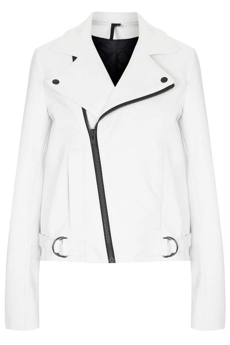 High Quality Fashion Women White Leather Jacket