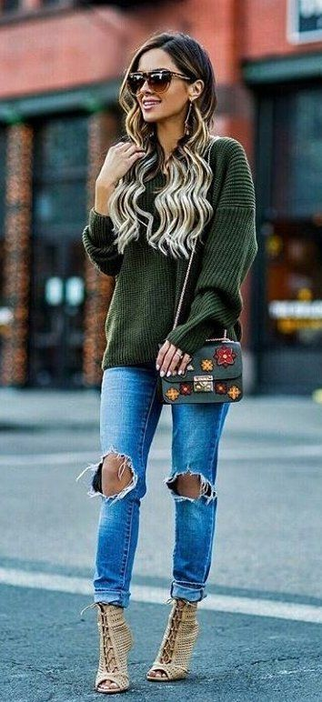 #fall #outfits women's brown sunglasses, olive-green sweater, distressed skinny jeans and brown strappy peep toe heels outfit