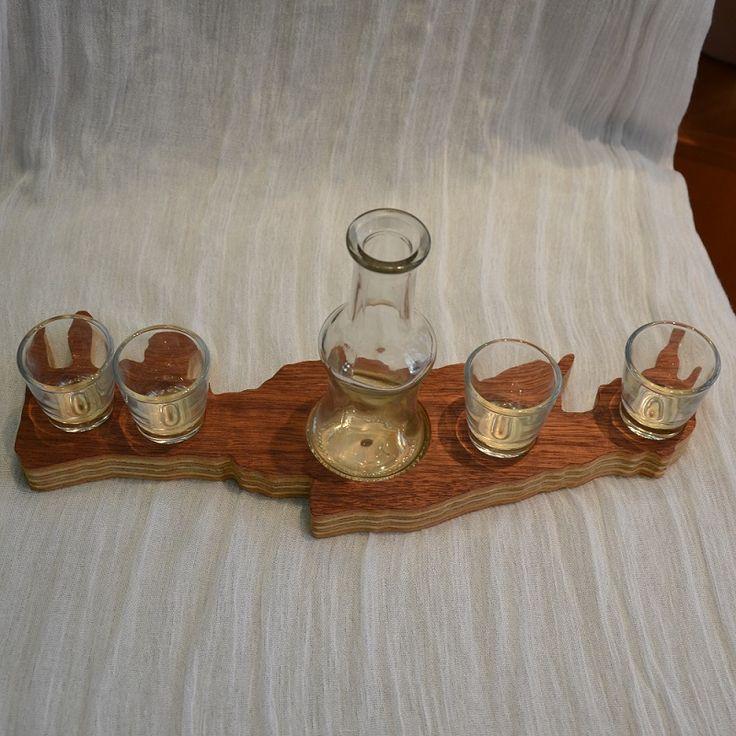 Crete - Wooden Tray - Raki Carafe & Glasses