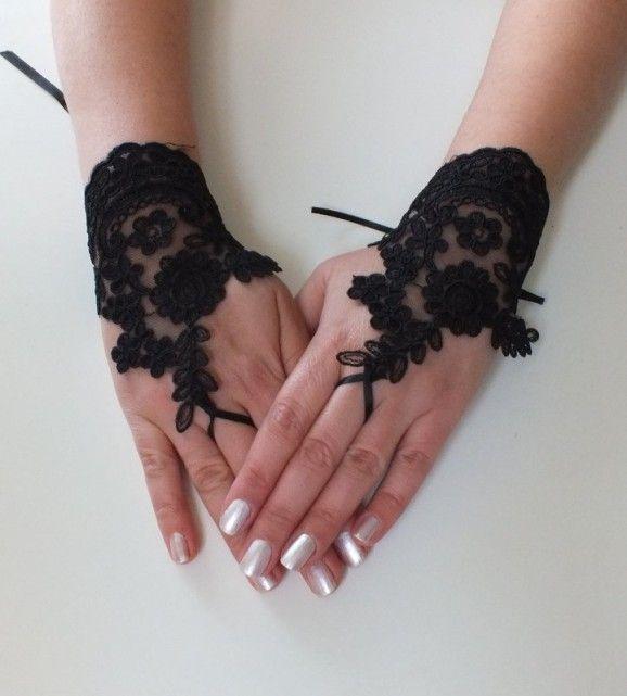 Siyah Düğün eldivenleri fransız dantel eldiven gelinlik gelinlik eldivenleri dantel eldiven parmaksız eldiven siyah eldiven ücretsiz gemi