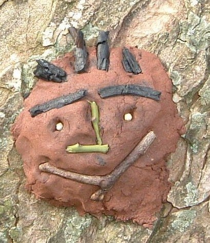 mud and stick face on a tree!