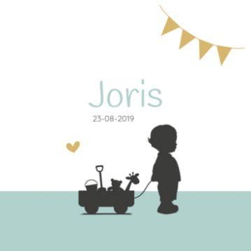 Geboortekaartje silhouet Jongetje met speelgoed