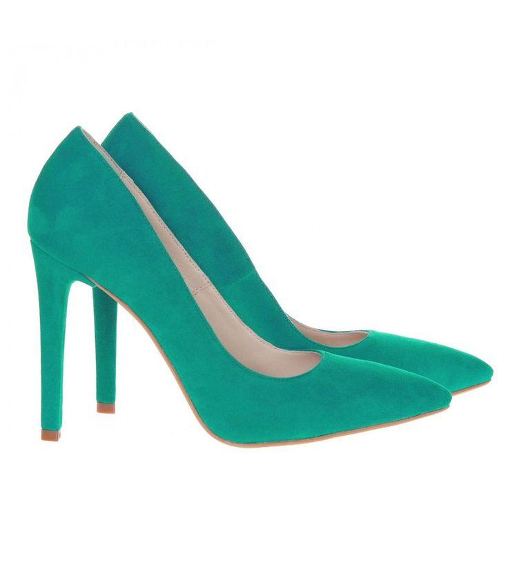 Pantofi Stiletto Piele Naturala Intoarsa Verde Smarald - Cod S231 | 270 RON