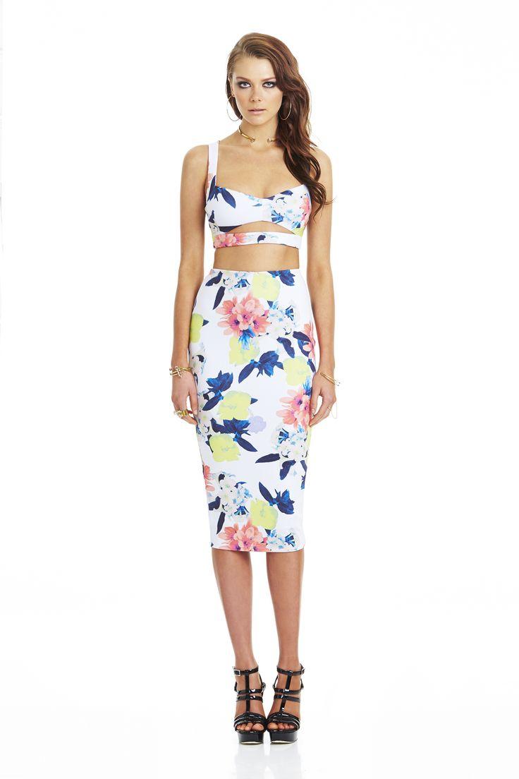 Secret Garden Crop & Pencil Skirt White #nookie