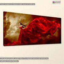Woman in red dress, πανοραμικός πίνακας σε καμβά