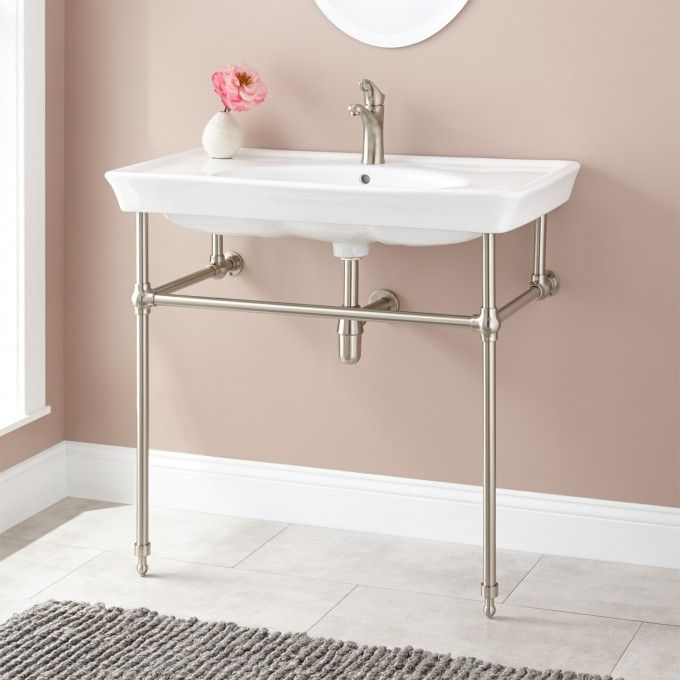 Koltn Console Sink With Brass Stand   Console Sinks   Bathroom Sinks    Bathroom