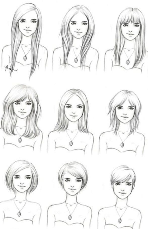 Straight Hair Long Hair Short Hair Drawing Examples For Fash Straight Hair Long Hair Short Hair Drawin In 2020 Hair Illustration Short Hair Drawing How To Draw Hair