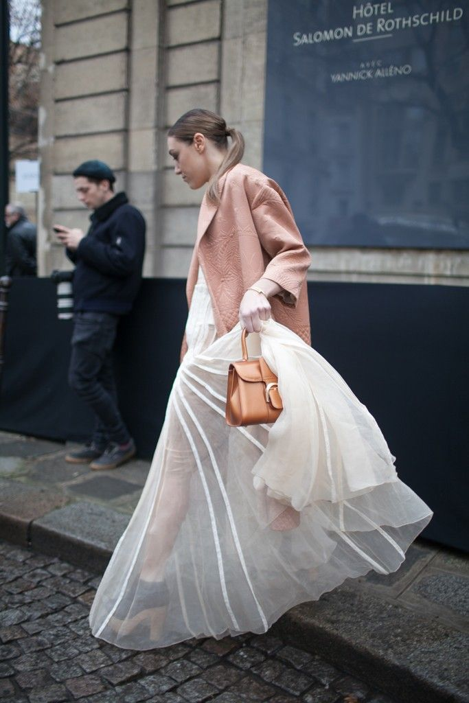 Sheer street style during Paris Couture Week. [Photo by Kuba Dabrowski]