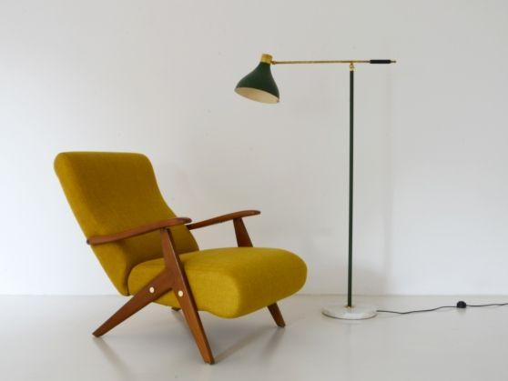 Vintage Design, Modernariato, Art Deco, Neoclassico, Rococò - Officina Antiquaria Milano - Lampade - Da terra - SILUX, LAMPADA DA LETTURA VERDE OLIVA CON BASE IN MARMO, 1950ca.