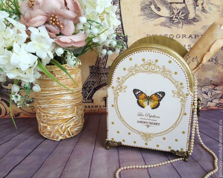 """Купить """"Золото и бабочки."""" Подставка для карандашей, кистей,расчесок, винтаж - золотой, винтажный, старинный"""