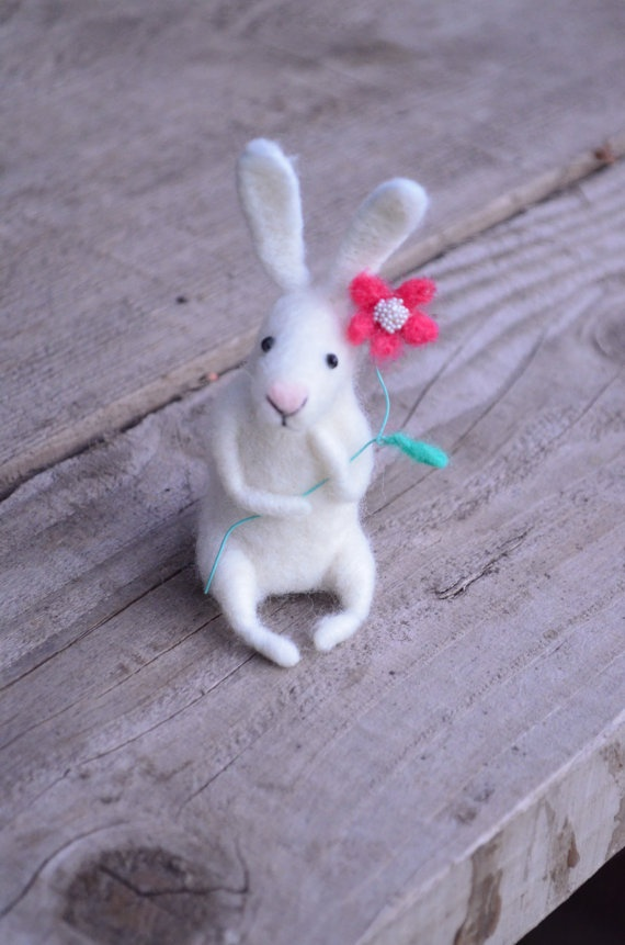 Little bunny with flower needle felted