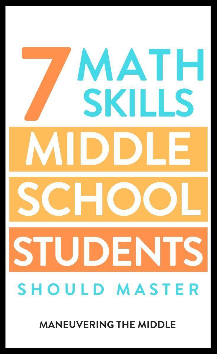 7 Math Skills Students Should Master Math Lessons Middle School Middle School Math Middle School Activities [ 1200 x 735 Pixel ]