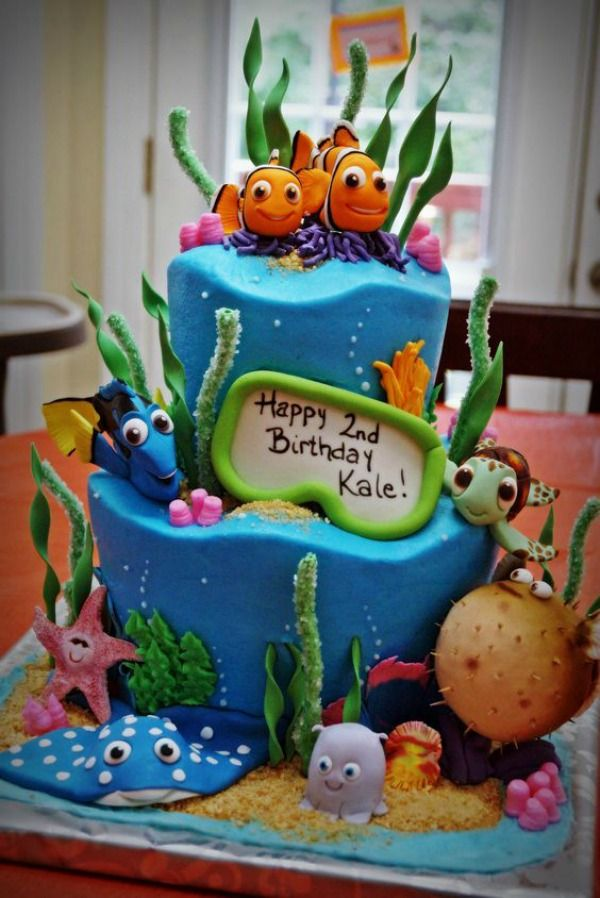 Dory Cake, Finding Dory Birthday Party Ideas | Pretty My Party