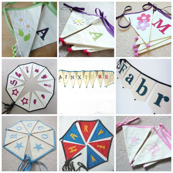 Personalised  bunting  name banner 9 flags by MinXtures on Etsy