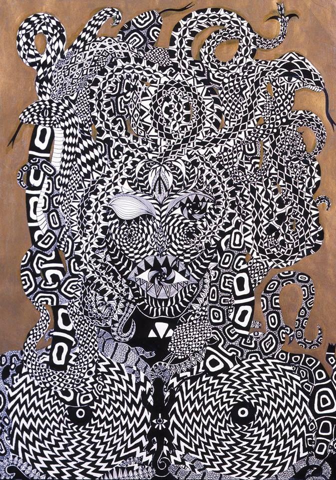 Gorgona Souboj Titanů perokresba černá tuš, zlatá tempera KOH-I-NOOR, formát A2 Autor. Johana Hájková http://www.internationalartgallery.org/en/johana-hajkova/gorgona/id/2104-2/