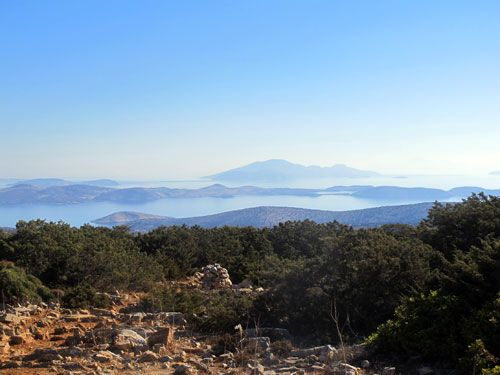 The view of the Small Cyclades from a high hill in Iraklia