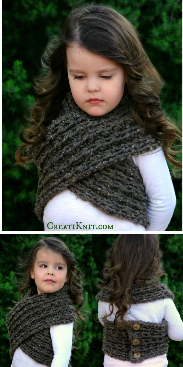 Winter adventures await with this cozy woodland wrap!  Versatile and stretchy, this has lots of give and flexibility, allowing children to be comfortable and warm! Adult size too!  Unique design gives you a beautiful wrap that is adjustable and stylish!  Knits approximate sizes: 3-6mos(6-12mos)(12-24mos)(24-48mos)(5-10yrs)(Adult)  Find it here: http://www.creatiknit.com/shop/the-winterscape-wrap-knitting-pattern/