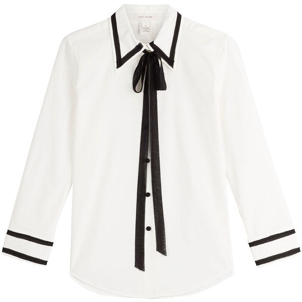 Marc Jacobs Cotton Blouse found on Polyvore featuring tops, blouses, white, pussy bow blouse, bow collar blouse, cotton blouse, cotton crop top and white button front blouse