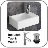Taranto 23.5cm by 37cm Right Hand Wall Hung Small Cloakroom Basin Set Inc Tap and Plug
