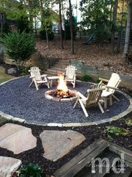 Fire pit...like the boarder of stone, maybe pea gravel inside?