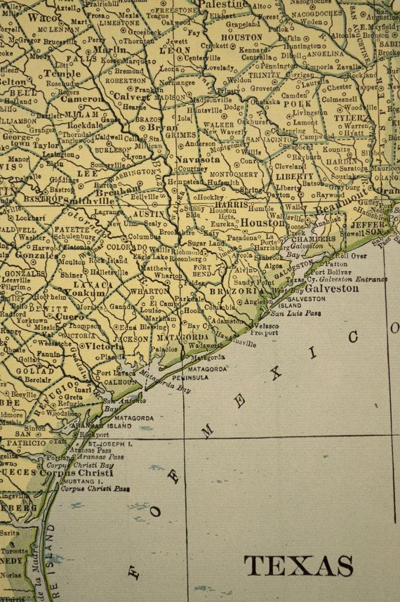 Oklahoma Map Texas Map Vintage Original 1930s 1937 | Stuff to buy ...