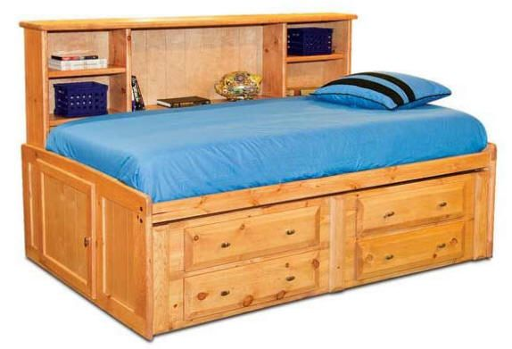 Henry Lee Twin Size Big Bookcase Captain S Bed Captains