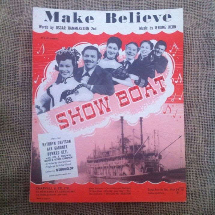 Vintage Sheet Music 1927. Make-Believe From Show Boat Starring Kathryn Grayson Ava Gardner Howard Keel. Voice and Puano or Art for framing