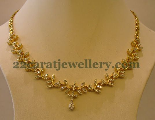 Jewellery Designs Radiant Simple Diamond Necklace
