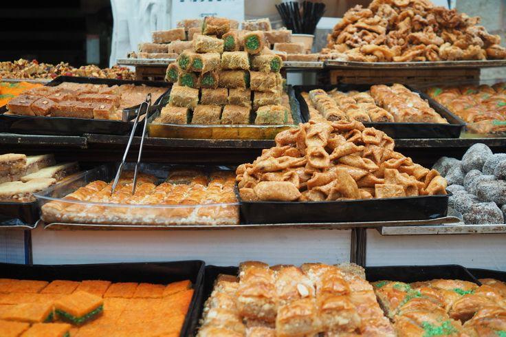 Arabic pastries in Mahane Yehuda Shuk in Jerusalem, Israel