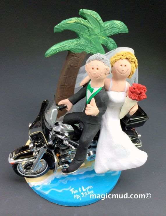 Tropical Destination Harley Motorcycle Wedding Cake Topper    We have pictured Harley motorcycle caketoppers.... but any style of motorcycle can be incorporated,,,a dirt bike, road bike, sport bike, Honda, Suzuki,Yamaha, Kawasaki, Ducati, BMW, whatever you want....    $235   #magicmud   1 800 231 9814   www.magicmud.com
