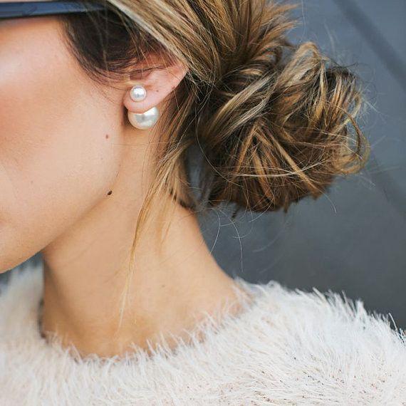 Double Pearl Earrings | @JewelleryClub