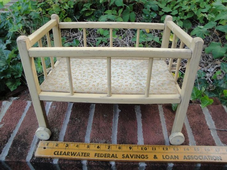 Antique baby doll crib bed with wheels 14 inches 1930 39 s for Baby bed with wheels
