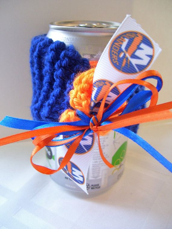 New York ISLANDERS Hockey Fans Handmade Can Cozy  by ZZsTeamTime