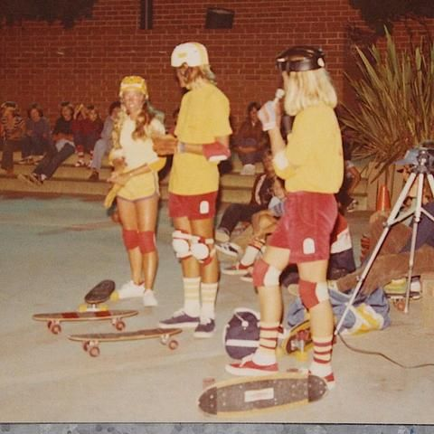 Z-Boys Skate Legend Stacy Peralta in Katin Chords with matching teammates.