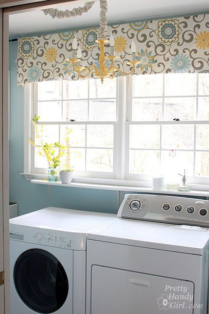 Laundry room window treatment. Love the paint color and valance.