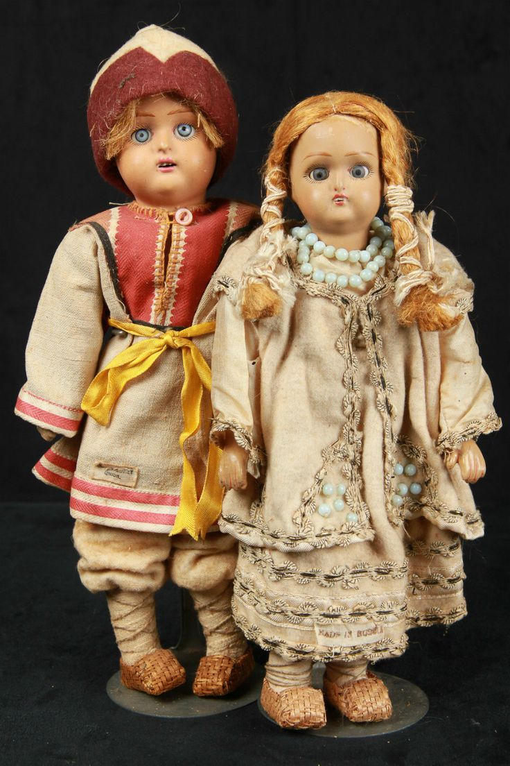 Antique Russian Terracotta Head Dolls