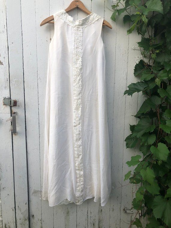 Witte Jurk Op Een Bruiloft.Vintage Jaren 60 Witte Maxi Bruiloft Jurk Lace En Transparant