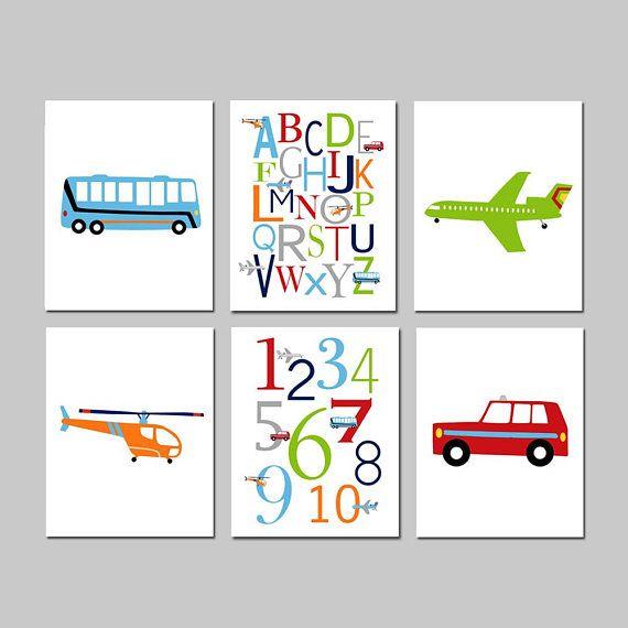 Transportation Kids Art Transportation Wall Art Set Of 6 Etsy Art Transportation Transportation Nursery Art Nursery Wall Art