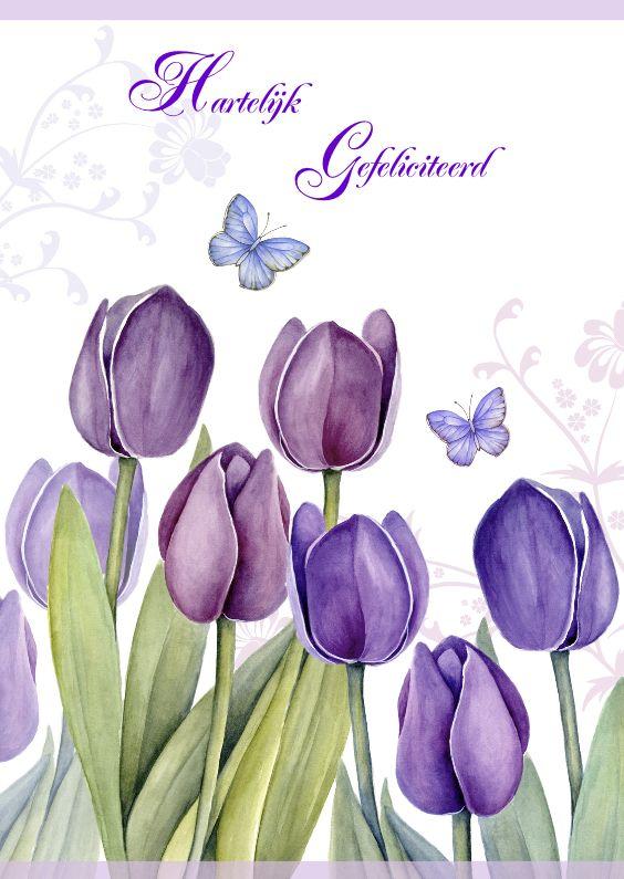 Hartelijk Gefeliciteerd met paarse tulpen