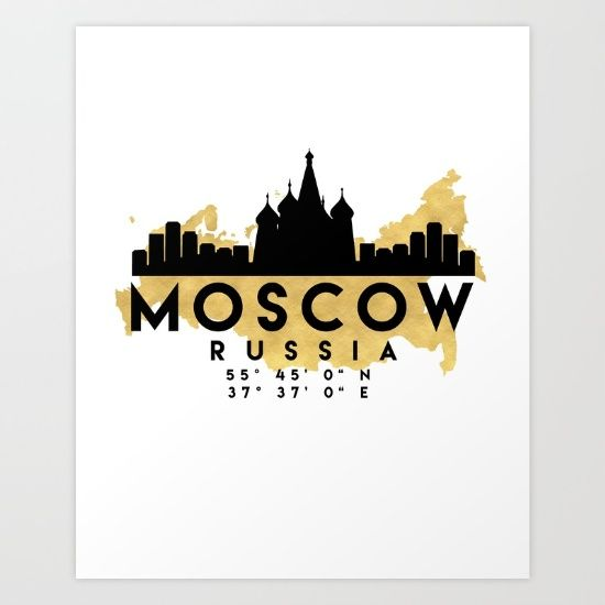 MOSCOW RUSSIA SILHOUETTE SKYLINE MAP ART - The beautiful silhouette skyline of Moscow and the great map of Russia in gold, with the exact coordinates of Moscow make up this amazing art piece. A great gift for anybody that has love for this city. Contact me: digital@deificusart.com  graphic-design digital typography illustration vector moscow russia downtown silhouette skyline map coordinates souvenir gold deificus-art