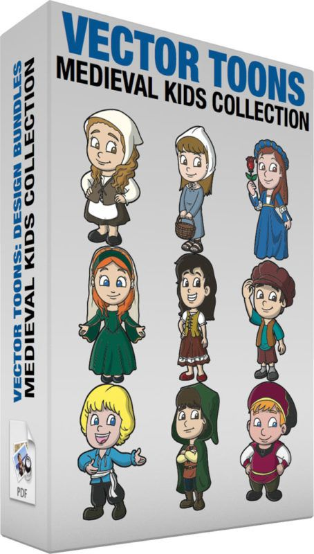 Medieval Kids Collection :  Bundle of images includes the following:  A Chubby Medieval Girl A girl with dark blonde hair wearing a medieval off white and brown handmaiden outfit with a bandana scarf around her head black shoes smiles while placing her hands on her hips  A Charming Medieval Girl A pretty girl with light brown hair wearing a white head covering grayish blue dress brownish black sandals smiles while carrying a brown basket  A Lovely Medieval Young Lady A girl with brown hair…
