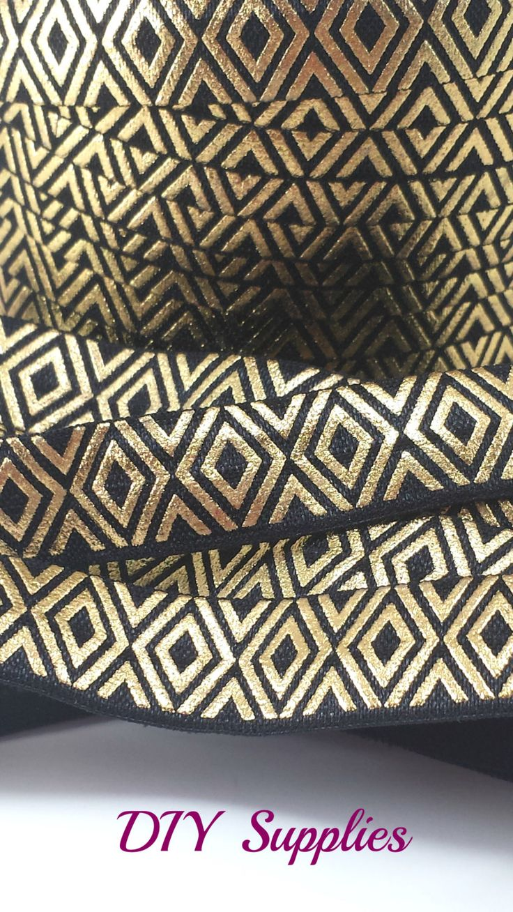 Black headbands for crafts - Black Gold Diamonds Metallic Fold Over Elastic 5 8 Printed Foe Headband Elastic