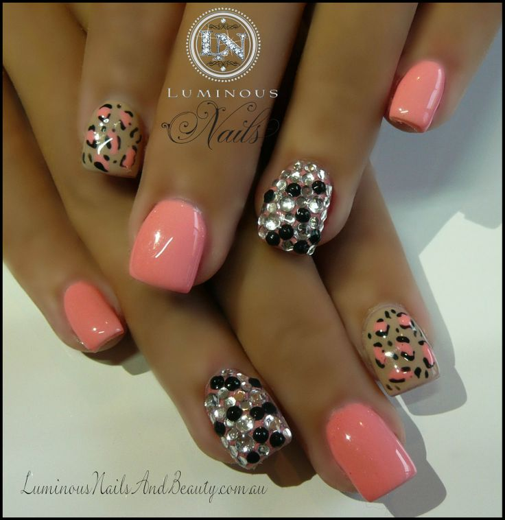 Coral leopard print embellished nails