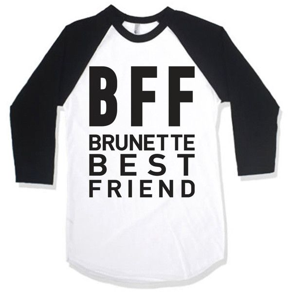 Bff Brunette Best Friend ($30) ❤ liked on Polyvore featuring tops, t-shirts, black, women's clothing, black baseball shirt, cotton shirts, baseball shirts, raglan tee and loose fit t shirts
