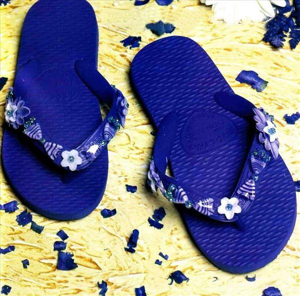 flip flops summer diy project blue marine beads fishes