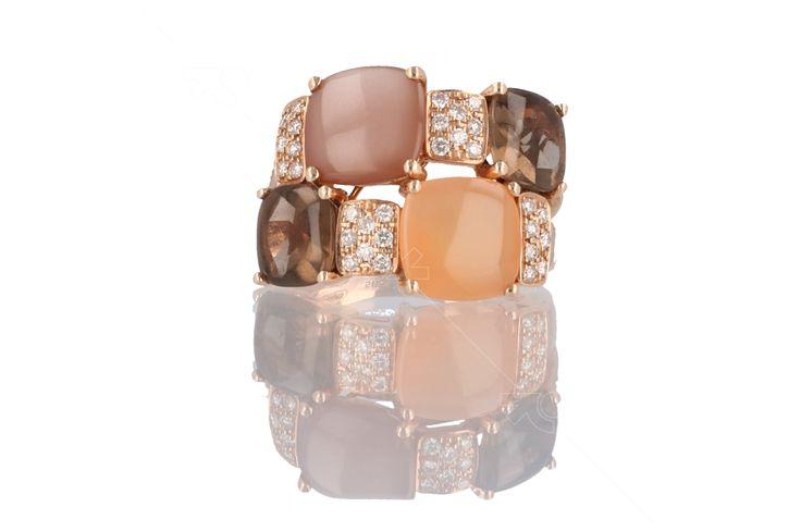 Smokey quartz and moonstone ring, Rauchquarz, Mondstein, minerals jewelry