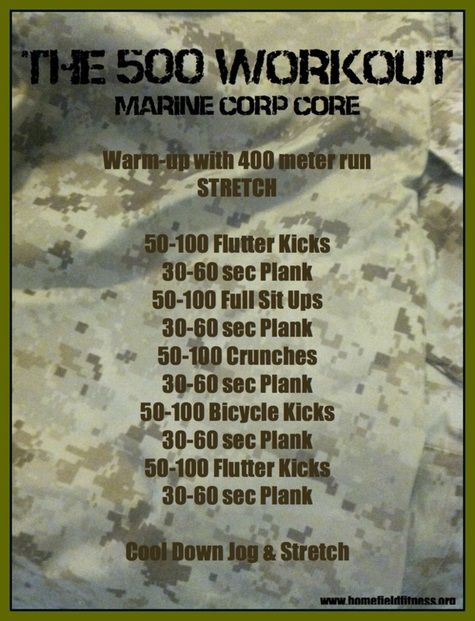 Home Field Meets The Home Front - The 500 Workout - Marine Style