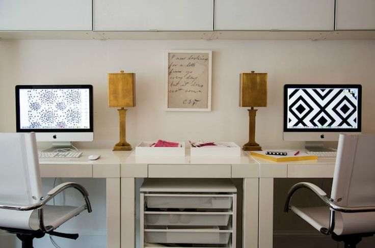 source: Liz Caan Interiors      Fabulous office for two filled with West Elm Parsons Desks with Drawers in White and West Elm Swivel Desk Chairs in White. White rolling storage office cart is tucked under West Elm Parsons Mini Desk which is placed between West Elm Parsons Desks. Desk with polished brass table lamps and white lacquer in box trays.