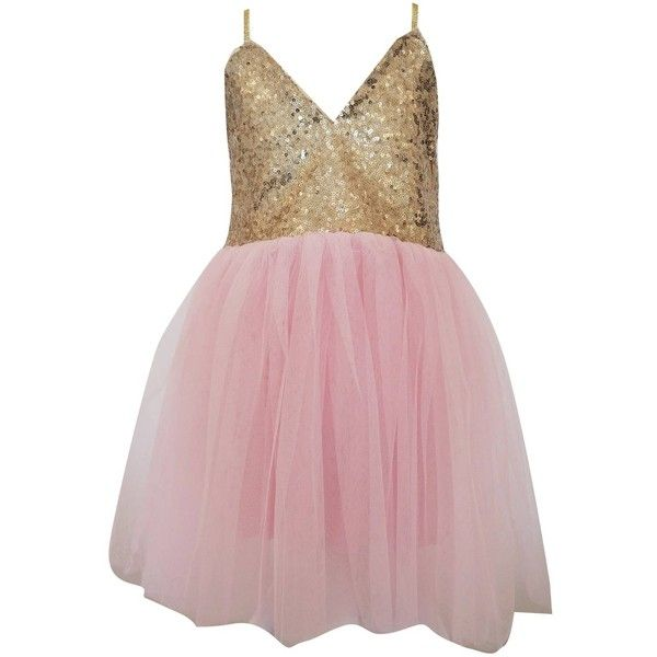 Lilly + Bo - Ava Party Dress In Pink ($55) ❤ liked on Polyvore featuring dresses, glitter dress, summer cocktail dresses, yellow gold dress, gold glitter dress and pink summer dresses